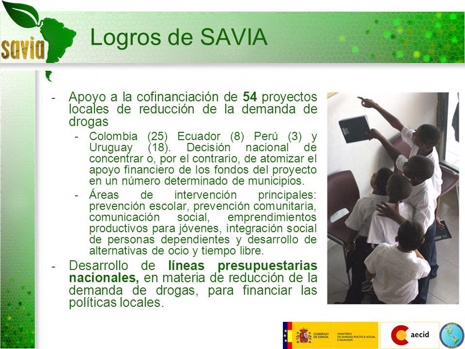Logros de SAVIAApoyo a la cofinanciación de 54 proyectos locales de reducción de la demanda de drogas.