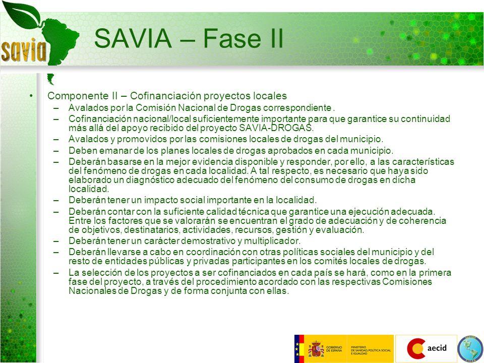 SAVIA – Fase II Componente II – Cofinanciación proyectos locales