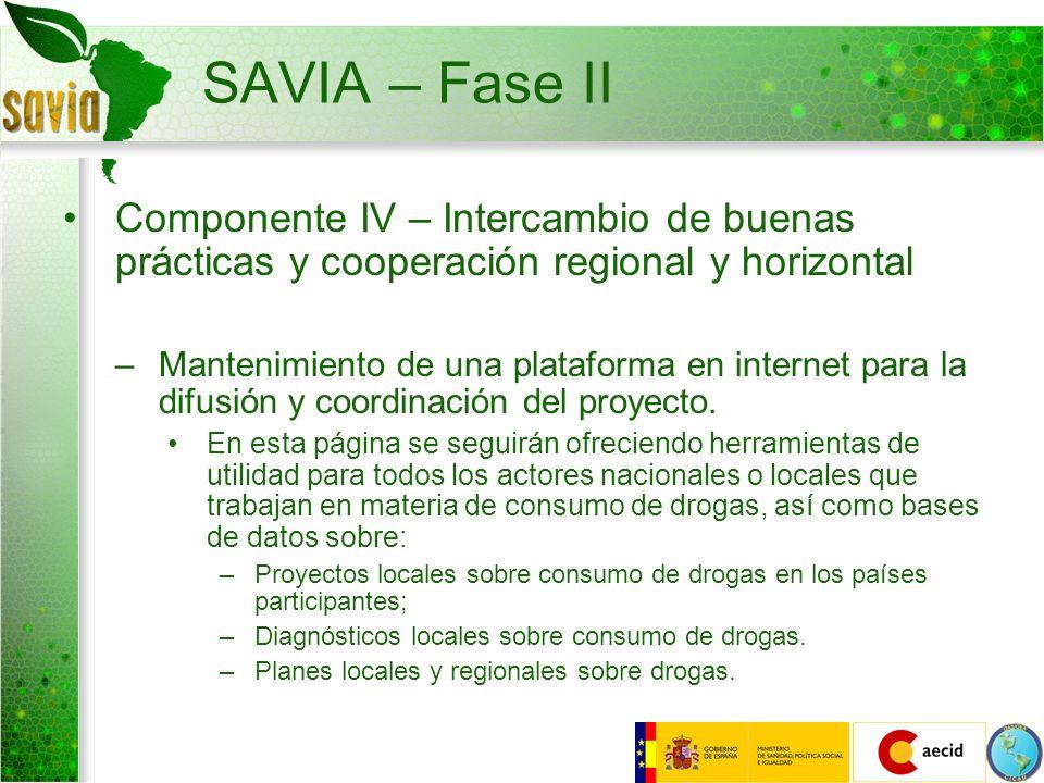 SAVIA – Fase II Componente IV – Intercambio de buenas prácticas y cooperación regional y horizontal.