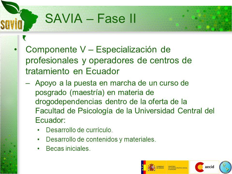 SAVIA – Fase II Componente V – Especialización de profesionales y operadores de centros de tratamiento en Ecuador.