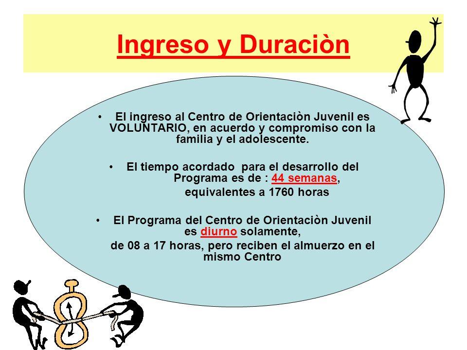 Ingreso y Duraciòn El ingreso al Centro de Orientaciòn Juvenil es VOLUNTARIO, en acuerdo y compromiso con la familia y el adolescente.