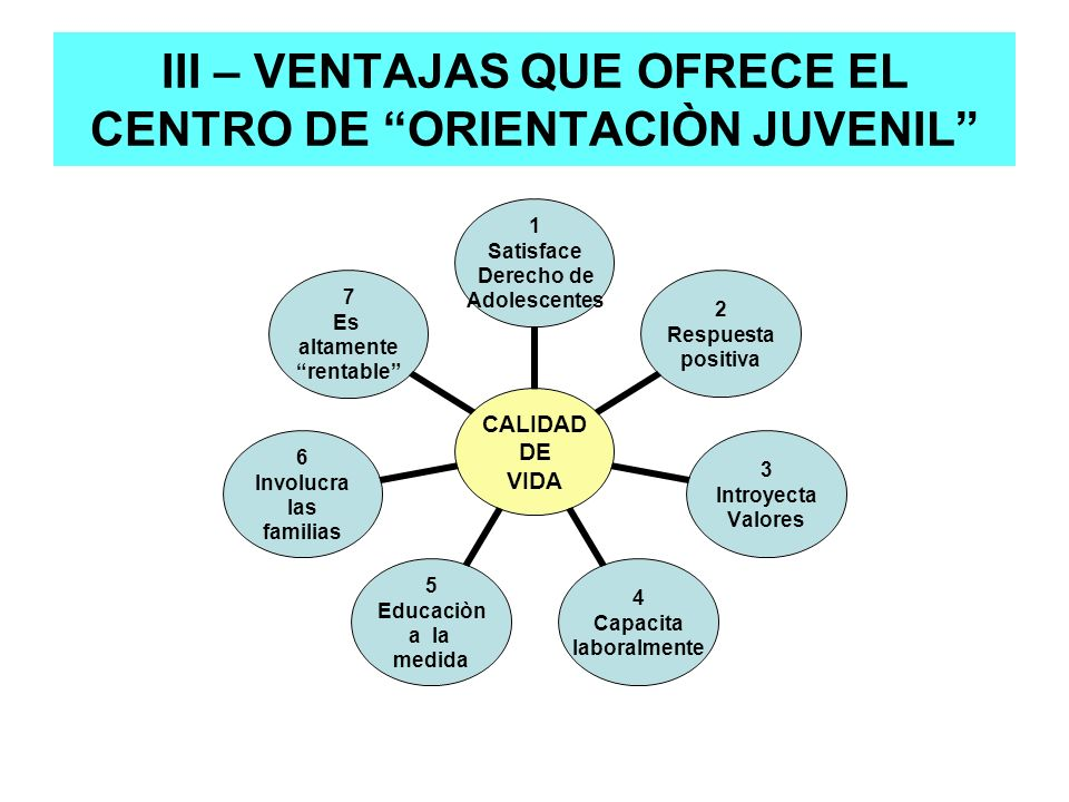 III – VENTAJAS QUE OFRECE EL CENTRO DE ORIENTACIÒN JUVENIL