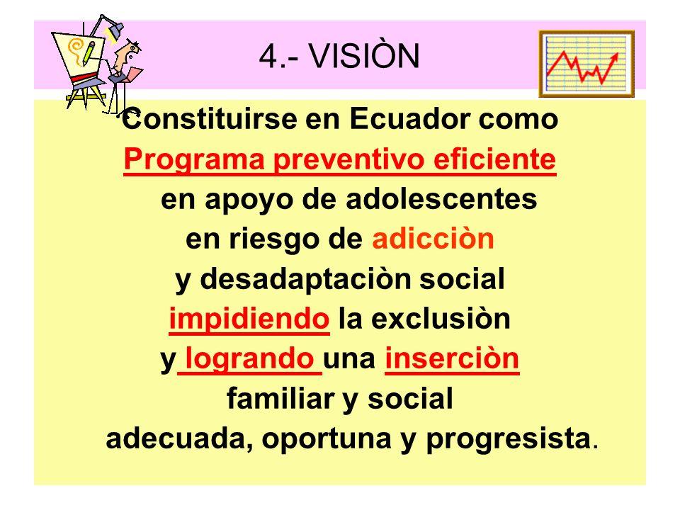 4.- VISIÒN Constituirse en Ecuador como Programa preventivo eficiente