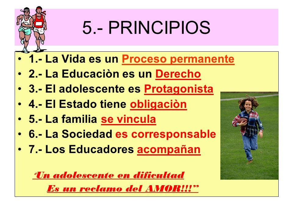 5.- PRINCIPIOS 1.- La Vida es un Proceso permanente