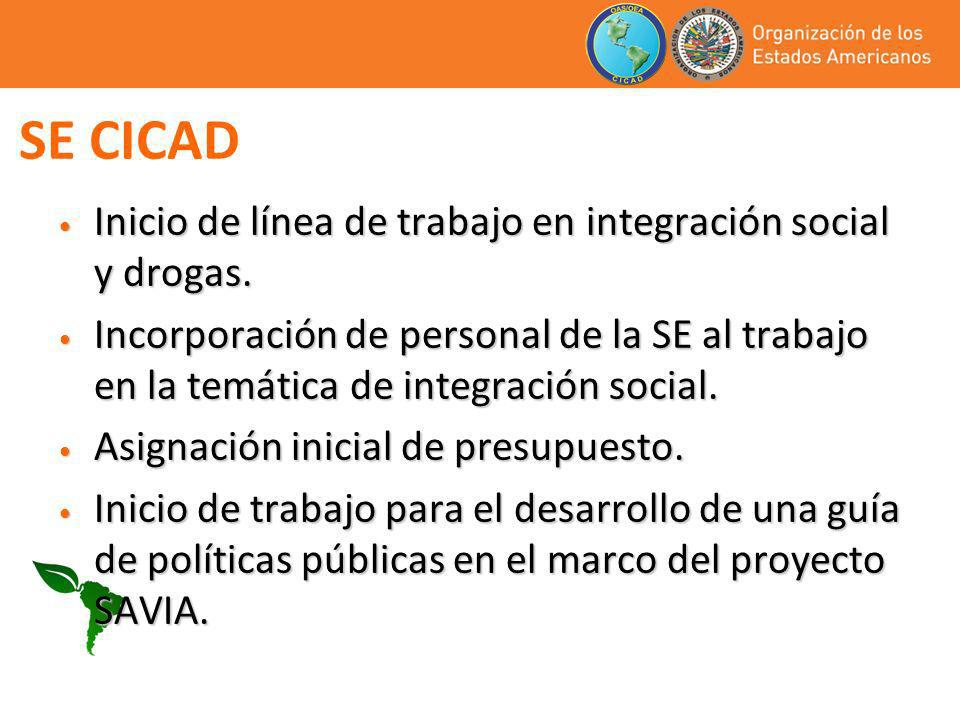 SE CICAD Inicio de línea de trabajo en integración social y drogas.