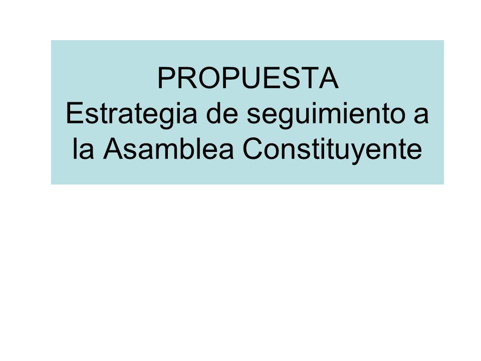 PROPUESTA Estrategia de seguimiento a la Asamblea Constituyente
