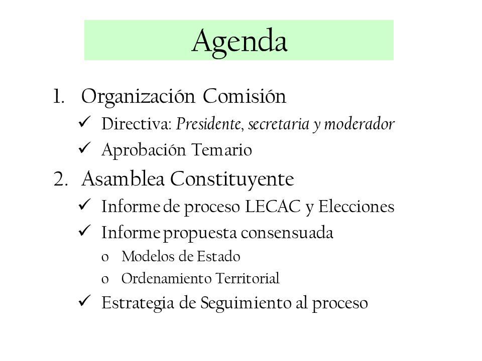 Agenda Organización Comisión Asamblea Constituyente