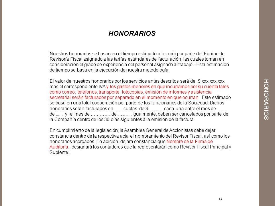 honorarios HONORARIOS