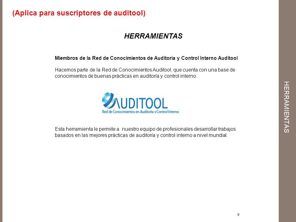 herramientas (Aplica para suscriptores de auditool) HERRAMIENTAS
