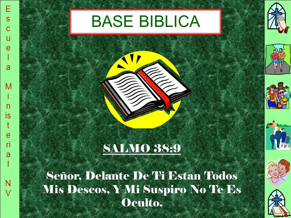 Escuela Ministerial. NV. BASE BIBLICA. SALMO 38:9.