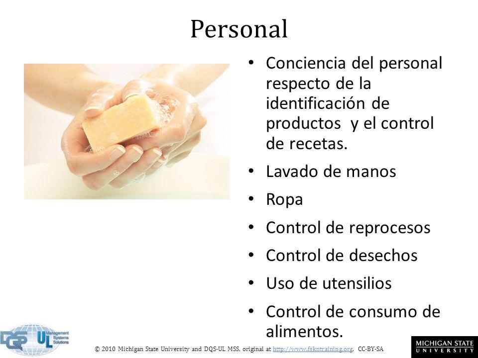 Personal Conciencia del personal respecto de la identificación de productos y el control de recetas.