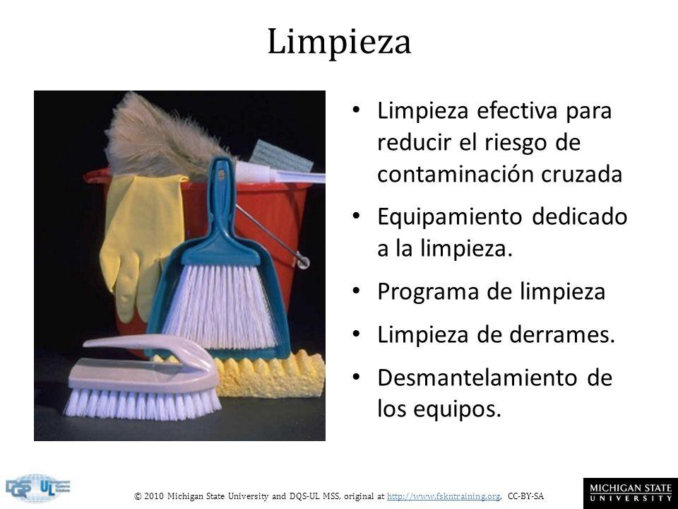 Limpieza Limpieza efectiva para reducir el riesgo de contaminación cruzada. Equipamiento dedicado a la limpieza.