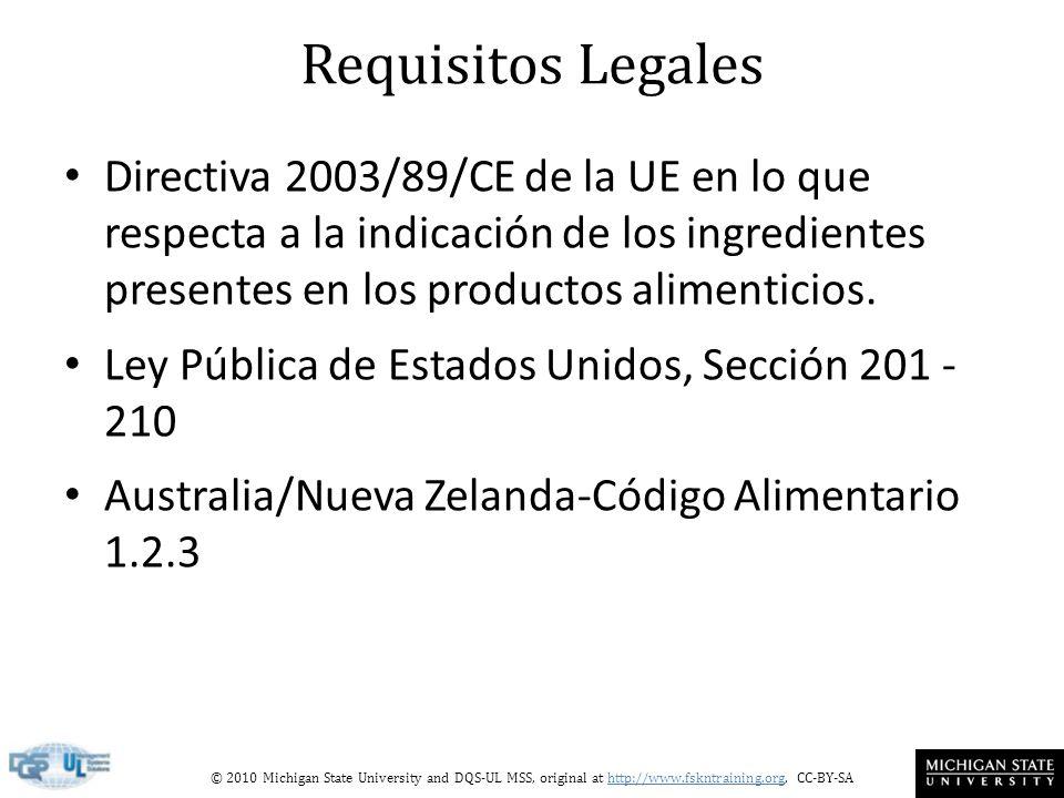 Requisitos LegalesDirectiva 2003/89/CE de la UE en lo que respecta a la indicación de los ingredientes presentes en los productos alimenticios.