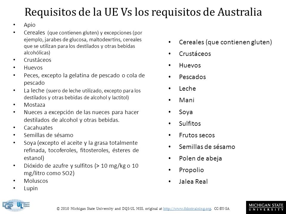 Requisitos de la UE Vs los requisitos de Australia