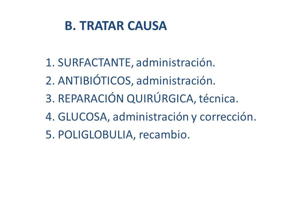 B. TRATAR CAUSA 1. SURFACTANTE, administración.