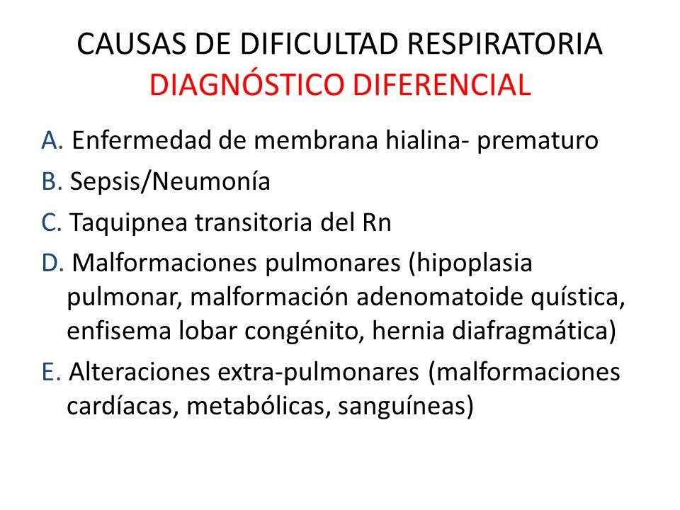 CAUSAS DE DIFICULTAD RESPIRATORIA DIAGNÓSTICO DIFERENCIAL