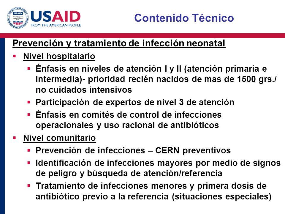 Contenido Técnico Prevención y tratamiento de infección neonatal