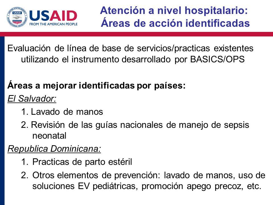 Atención a nivel hospitalario: Áreas de acción identificadas