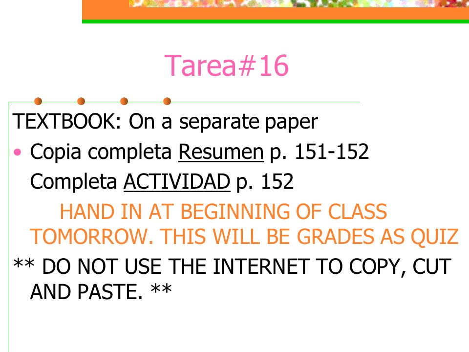 Tarea#16 TEXTBOOK: On a separate paper