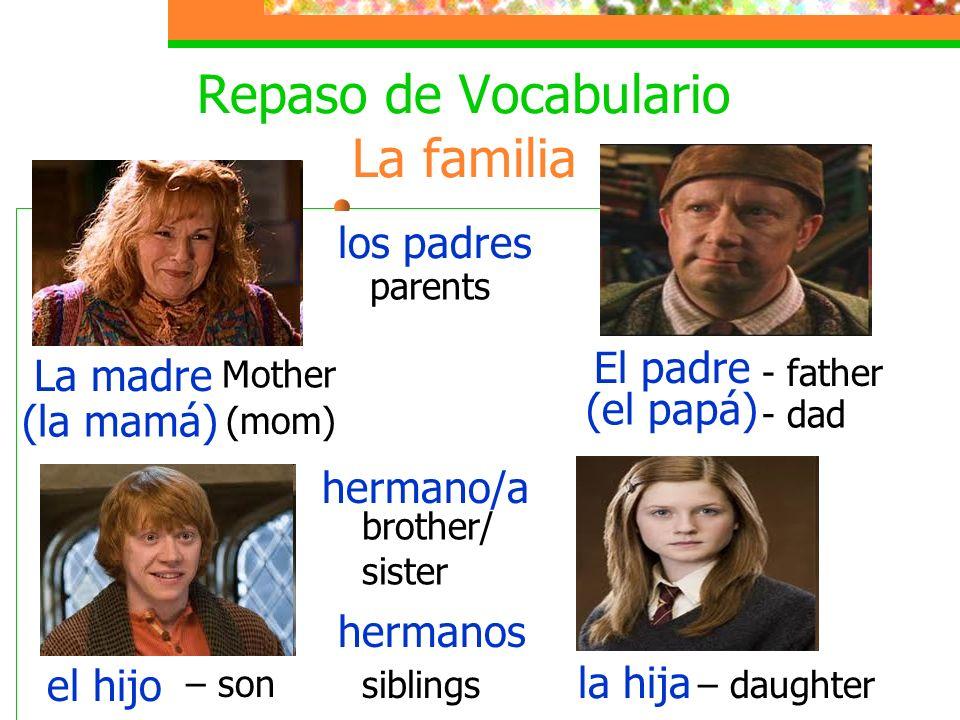 Repaso de Vocabulario La familia