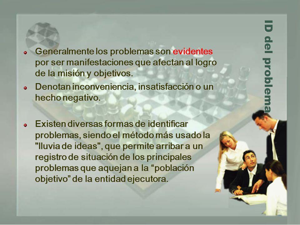 Generalmente los problemas son evidentes por ser manifestaciones que afectan al logro de la misión y objetivos.
