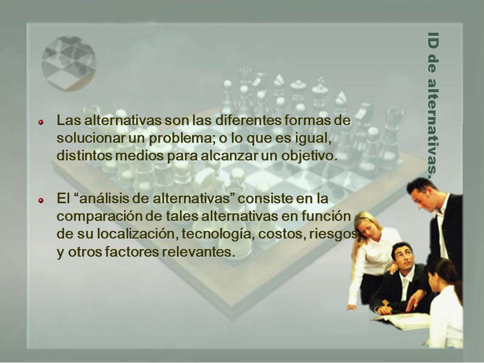Las alternativas son las diferentes formas de solucionar un problema; o lo que es igual, distintos medios para alcanzar un objetivo.