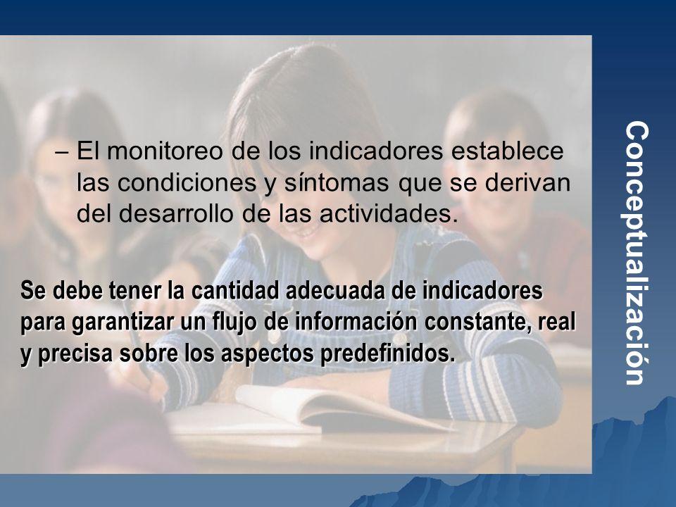 Conceptualización El monitoreo de los indicadores establece las condiciones y síntomas que se derivan del desarrollo de las actividades.