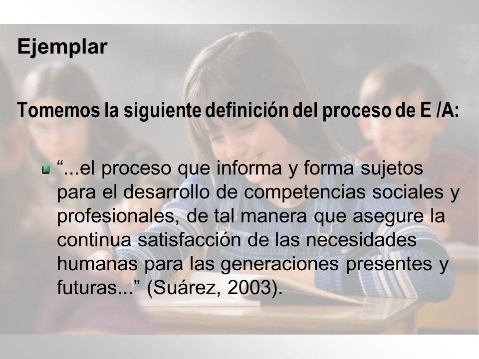 Tomemos la siguiente definición del proceso de E /A: