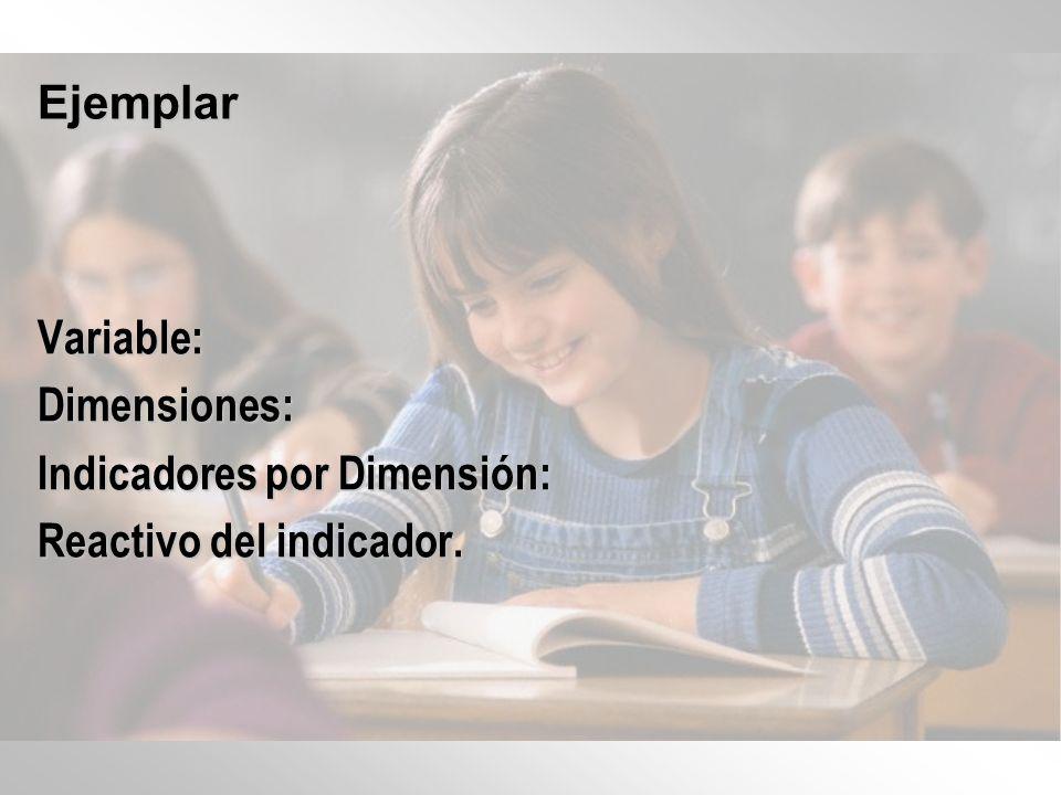 Ejemplar Variable: Dimensiones: Indicadores por Dimensión: Reactivo del indicador.