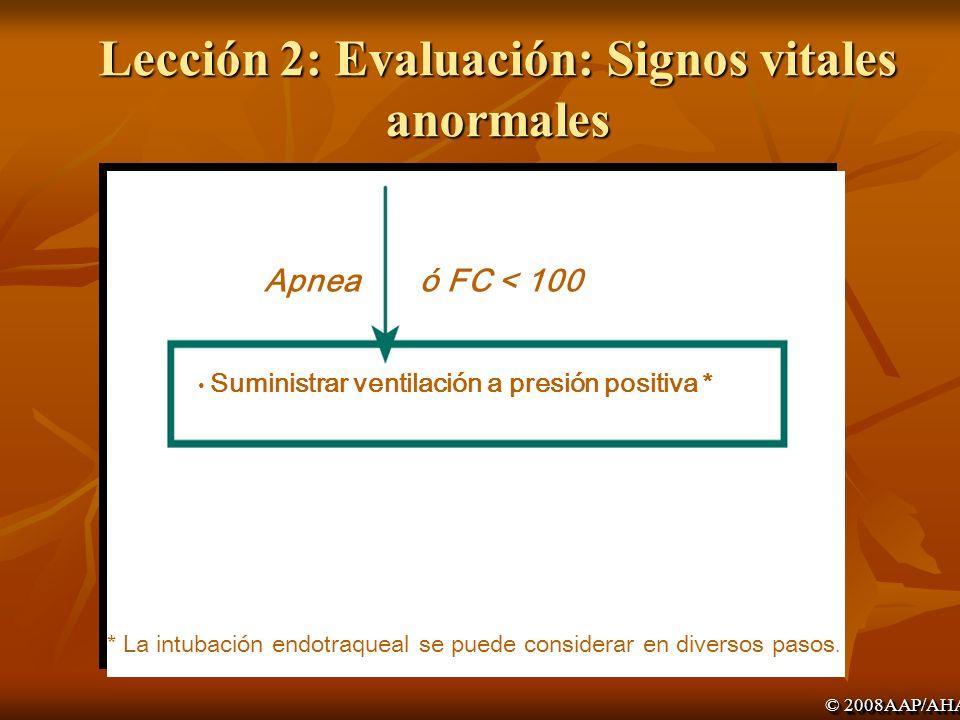 Lección 2: Evaluación: Signos vitales anormales