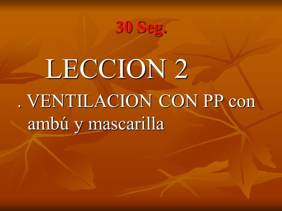 30 Seg. LECCION 2 . VENTILACION CON PP con ambú y mascarilla