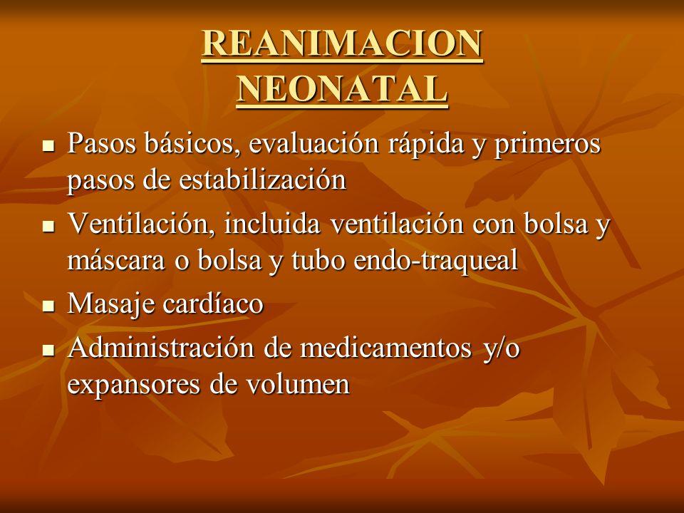 REANIMACION NEONATAL Pasos básicos, evaluación rápida y primeros pasos de estabilización.