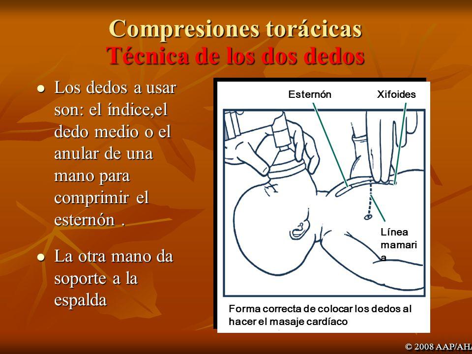 Compresiones torácicas Técnica de los dos dedos