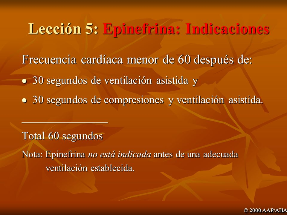 Lección 5: Epinefrina: Indicaciones
