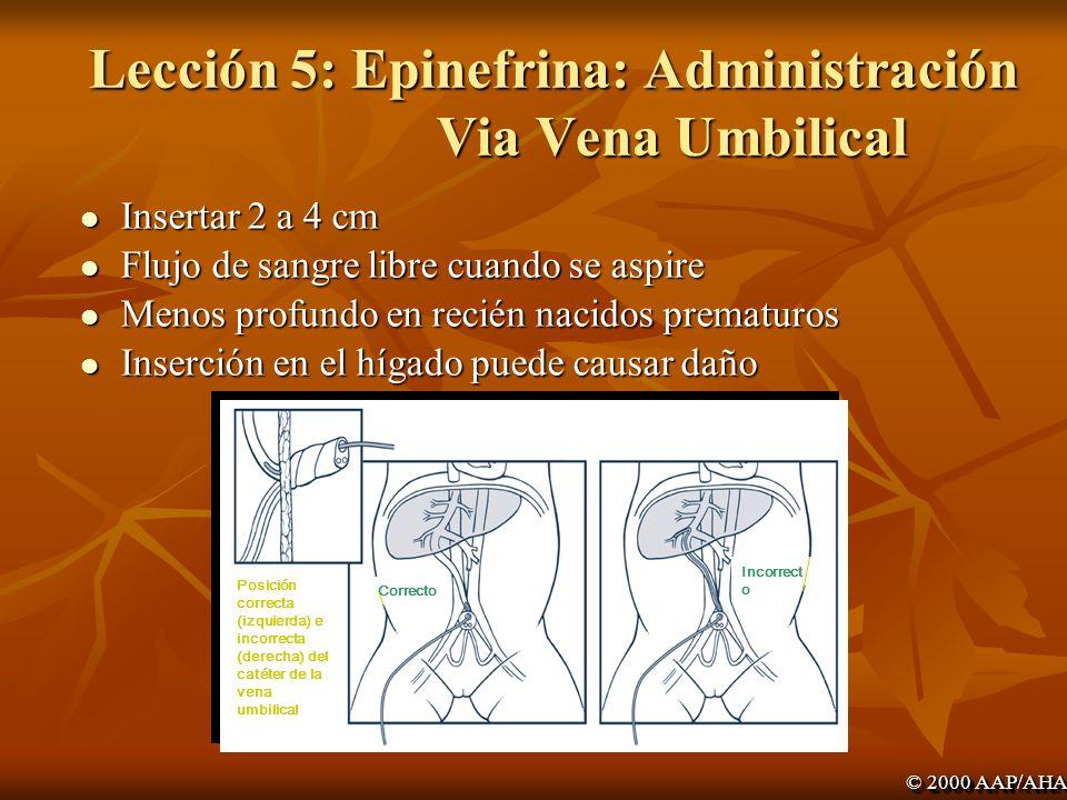 Lección 5: Epinefrina: Administración Via Vena Umbilical