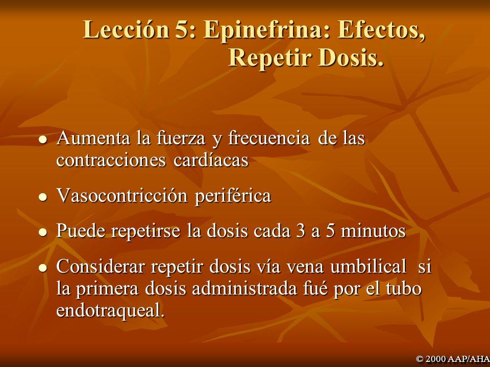 Lección 5: Epinefrina: Efectos, Repetir Dosis.