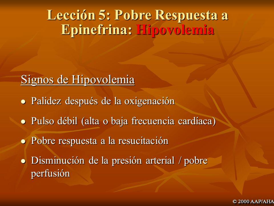 Lección 5: Pobre Respuesta a Epinefrina: Hipovolemia
