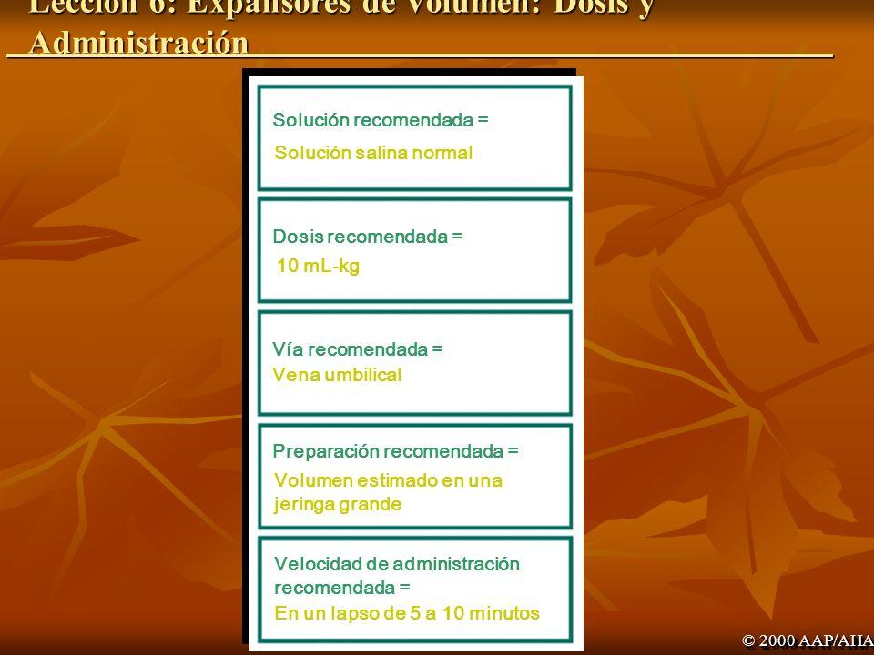 Lección 6: Expansores de Volumen: Dosis y Administración