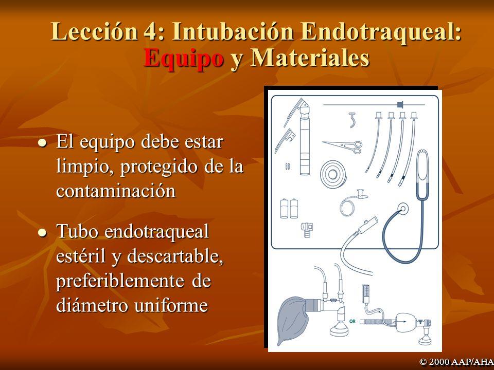 Lección 4: Intubación Endotraqueal: Equipo y Materiales
