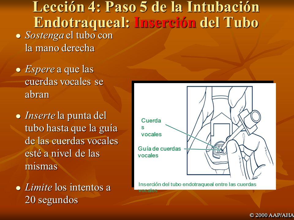 Lección 4: Paso 5 de la Intubación Endotraqueal: Inserción del Tubo