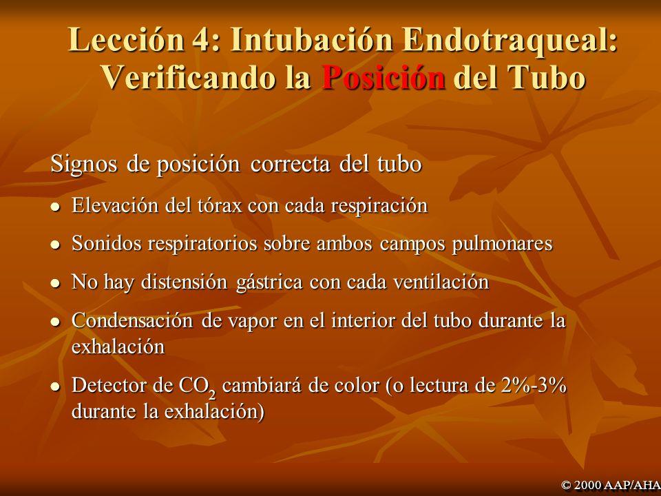 Lección 4: Intubación Endotraqueal: Verificando la Posición del Tubo