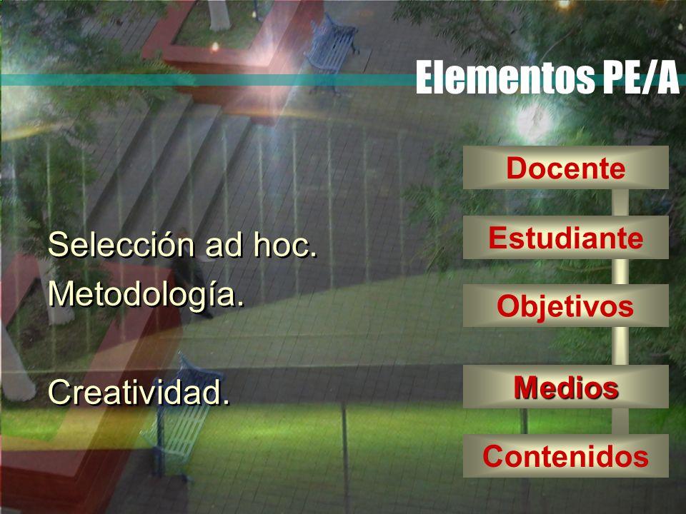 Elementos PE/A Selección ad hoc. Metodología. Creatividad. Docente