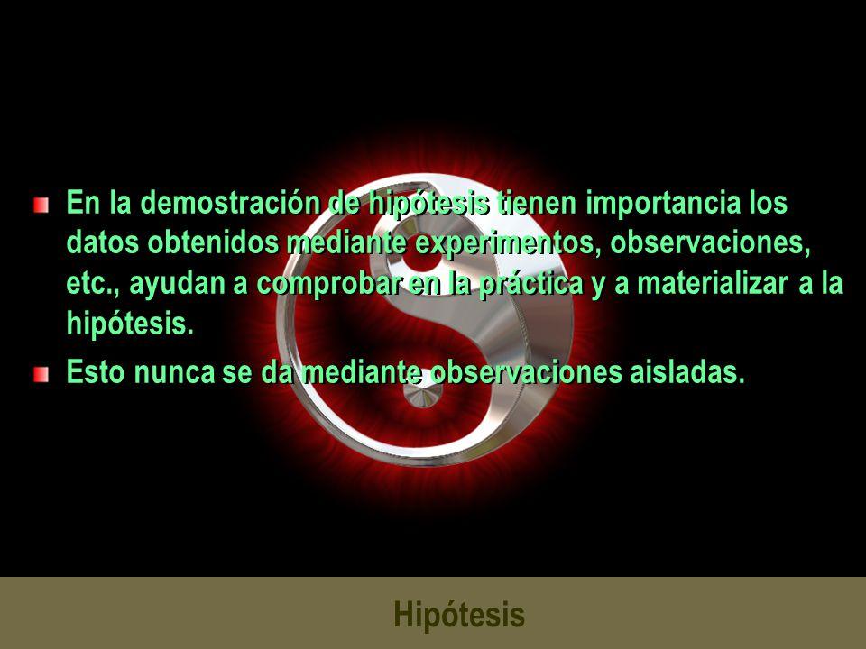 En la demostración de hipótesis tienen importancia los datos obtenidos mediante experimentos, observaciones, etc., ayudan a comprobar en la práctica y a materializar a la hipótesis.