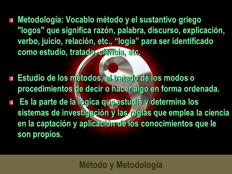 Metodología: Vocablo método y el sustantivo griego logos que significa razón, palabra, discurso, explicación, verbo, juicio, relación, etc., logía para ser identificado como estudio, tratado, ciencia, etc.