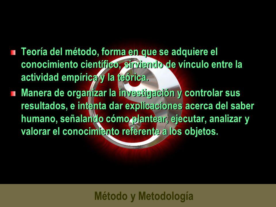 Teoría del método, forma en que se adquiere el conocimiento científico, sirviendo de vínculo entre la actividad empírica y la teórica.