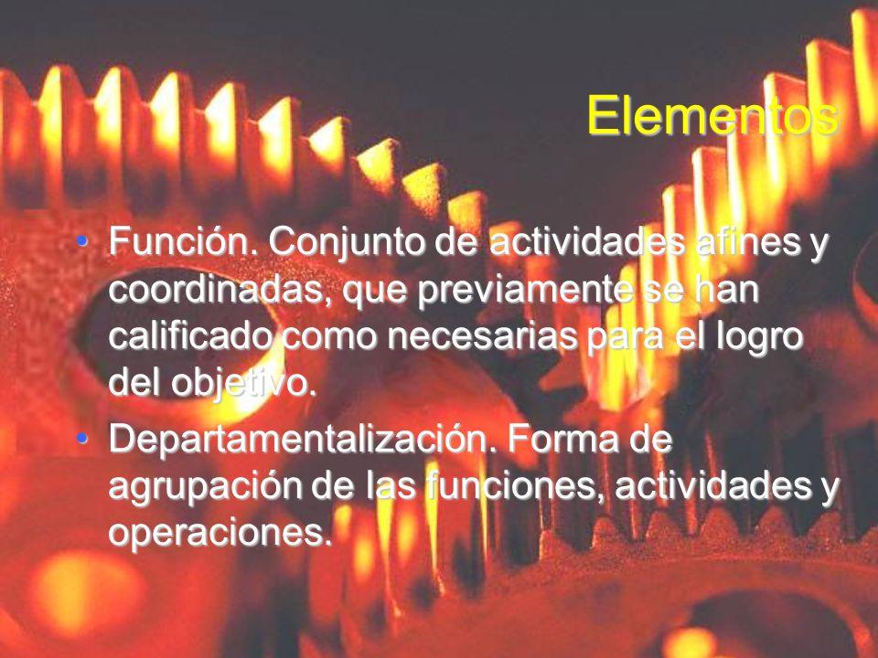 ElementosFunción. Conjunto de actividades afines y coordinadas, que previamente se han calificado como necesarias para el logro del objetivo.