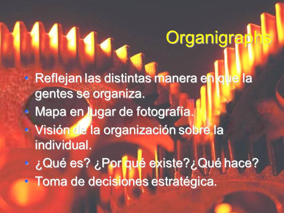 OrganigraphsReflejan las distintas manera en que la gentes se organiza. Mapa en lugar de fotografía.
