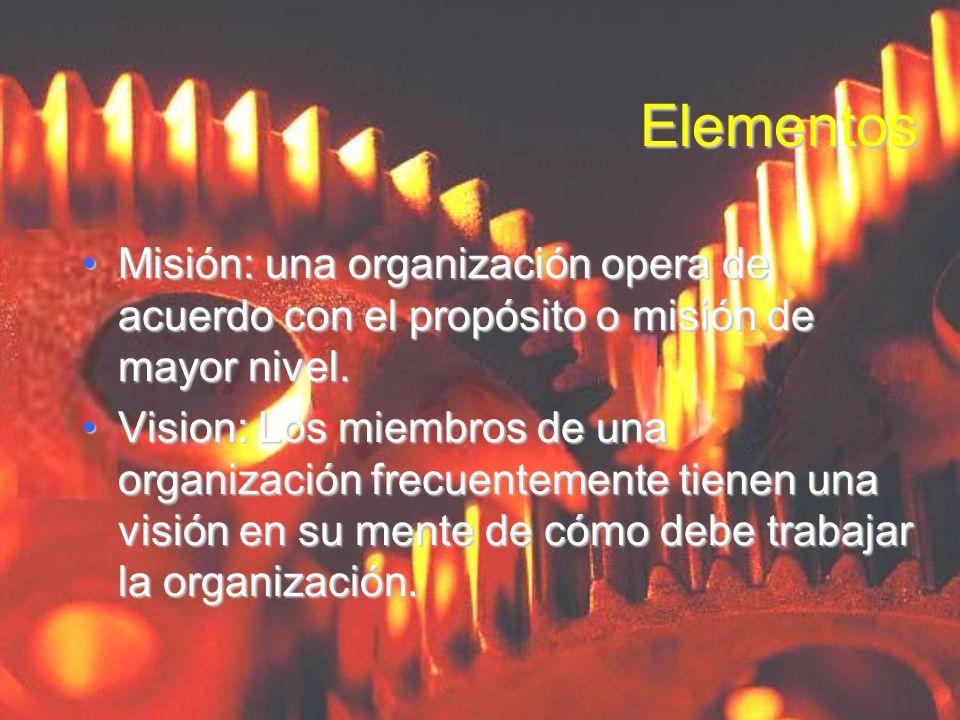 ElementosMisión: una organización opera de acuerdo con el propósito o misión de mayor nivel.