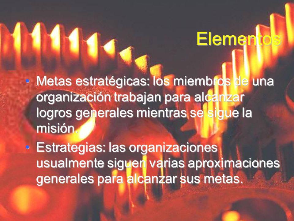 ElementosMetas estratégicas: los miembros de una organización trabajan para alcanzar logros generales mientras se sigue la misión.