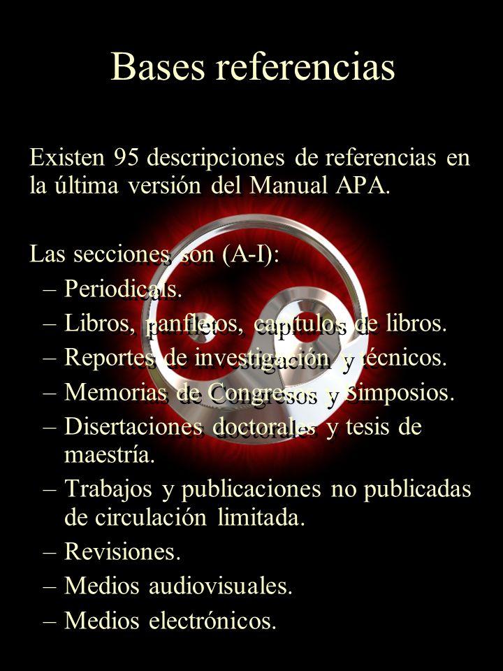 Bases referencias Existen 95 descripciones de referencias en la última versión del Manual APA. Las secciones son (A-I):